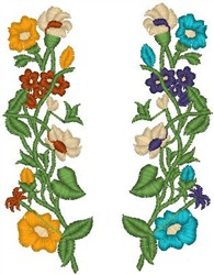 Dual Flower Stems embroidery design