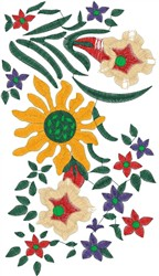 Vibrant Tropical Flowers embroidery design