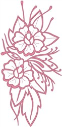 Flowers on Leaves Outline embroidery design