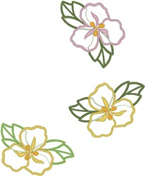Tropical Flower Outlines embroidery design