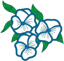 Blue Blossoms on Leaves embroidery design