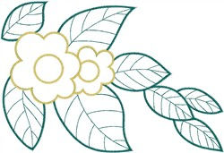 Flower Buds with Leaves embroidery design
