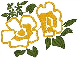 Flower Blooms on Leaves embroidery design