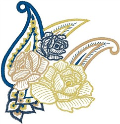 Roses on Decorative Leaves embroidery design