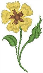 Yellow Flower on Stem embroidery design