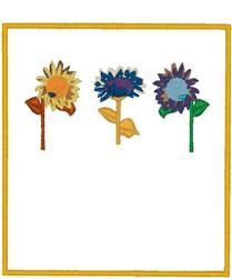 Multicolored Sunflowers embroidery design