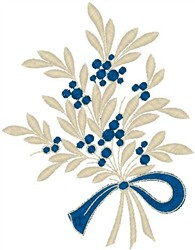 Floral Plants Tied with Ribbon embroidery design