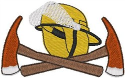 Fire Hat and Axes embroidery design