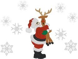 Santa Hugging Rudolph embroidery design