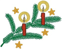 Candles on Tree Branch embroidery design
