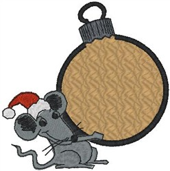 Mouse Holding Ornament embroidery design