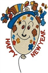 Happy New Year Balloon embroidery design