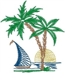 Sunset Sail embroidery design