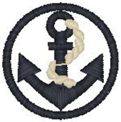 Anchor In Circle embroidery design