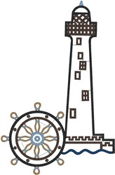 Lighthouse & Wheel embroidery design