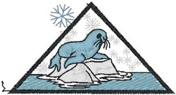 Walrus on Ice embroidery design