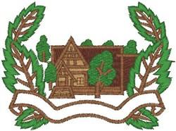 Log Cabin Scene embroidery design