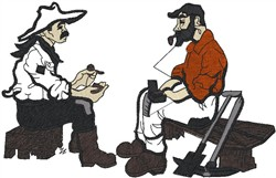 Cowboy miners embroidery design