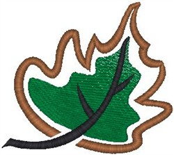 Leaf With Outline embroidery design