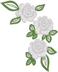 Yellow Roses on Leaves embroidery design