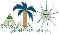 Palm Trees with Teepee embroidery design
