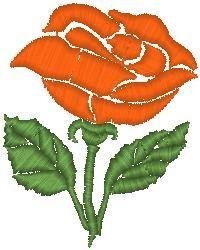 Rose on Stem embroidery design