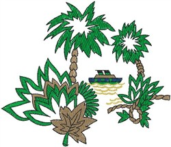 Palm Trees with Boat embroidery design