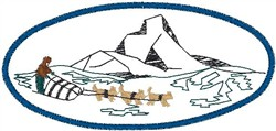 Sledge and Mountains embroidery design