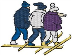 Three Skiers embroidery design