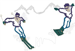 Ski and Snowboard embroidery design