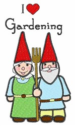 Gardening Gnome Couple embroidery design