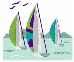 Sail Boat Race embroidery design