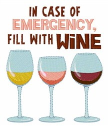 Wine Emergency embroidery design