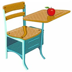 School Desk & Apple embroidery design