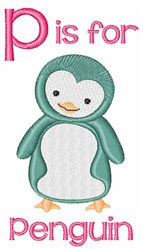 P For Penguin embroidery design