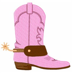 Pink Cowgirl Boot embroidery design