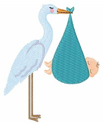 Stork Baby embroidery design