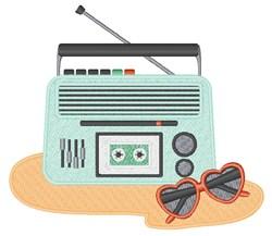 Beach Cassette Player embroidery design