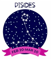 Pisces Dates embroidery design