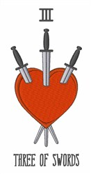 Three Of Swords embroidery design