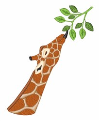 Giraffe Eating Leaf embroidery design