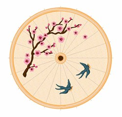 Oriental Umbrella embroidery design