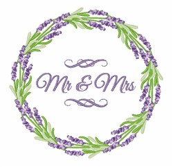Mr & Mrs Wreath embroidery design