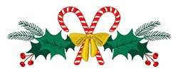 Candy Cane Holly embroidery design