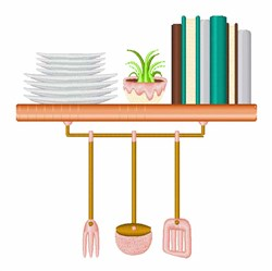 Kitchen Shelf embroidery design