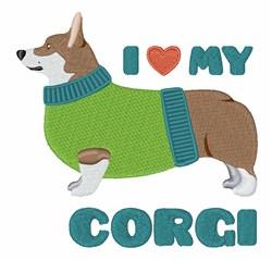 Love Corgi embroidery design