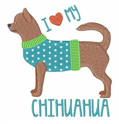 Love Chihuahua embroidery design