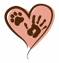 Pet Paws Heart embroidery design