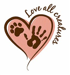 Love All Creatures embroidery design