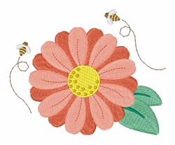 Flower Bees embroidery design